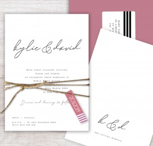 Flat card copenhagen wedding invitation