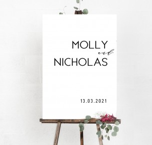 molly welcome sign A1 mounted on board