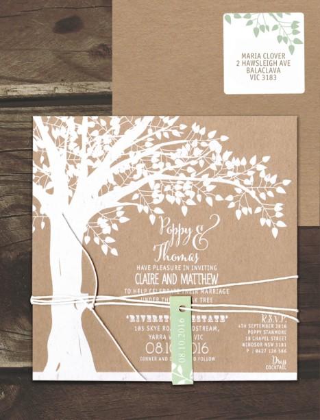 white ink on kraft - under the oak invitation
