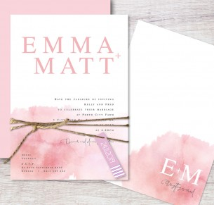 blushing flat card invitation