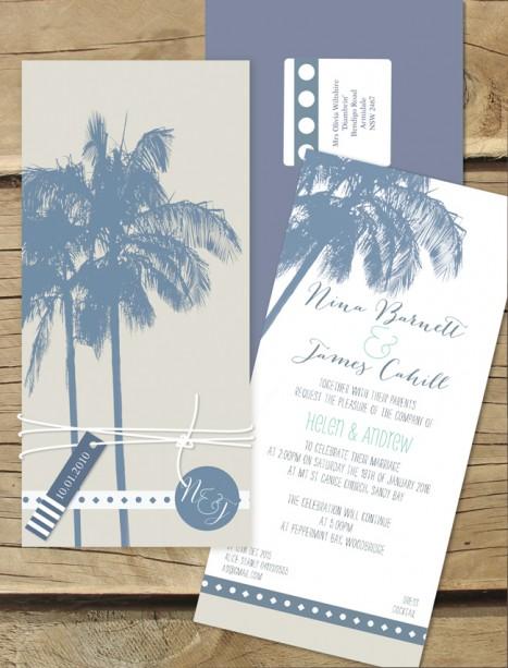 Beach palm flat card invitation