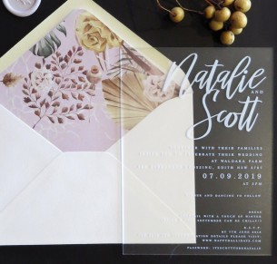 Frosted acrylic! Santa Fe invitations
