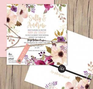 Field of flowers flat card invitation