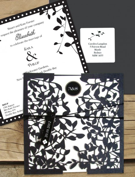 leafy affair black laser cut invitation
