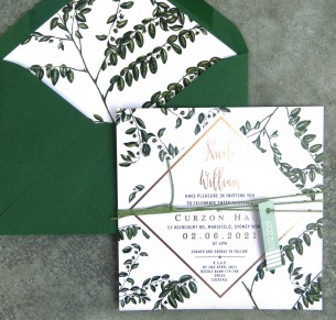 Metallic rose gold and gold foil! Greenery pop invitation