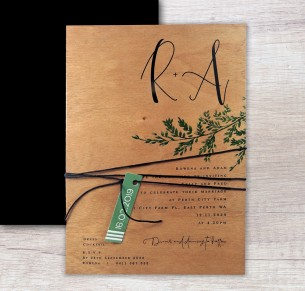 Printed on wood! grace in love invitation