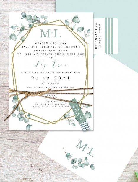 Geometric gum flat card invitation