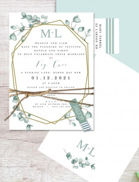 Geometric gum flat card invitation