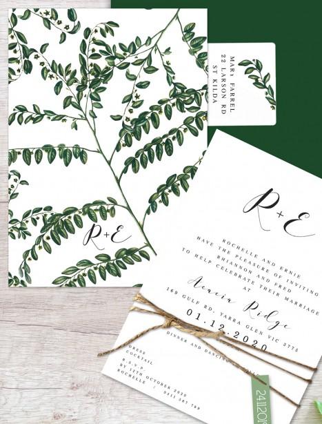 perennial flat card wedding invitation