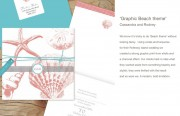 Graphic beach theme wedding invitation