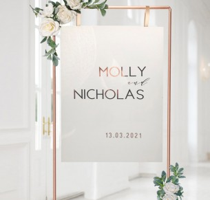 Acrylic + Rose gold Molly mounted welcome sign A1