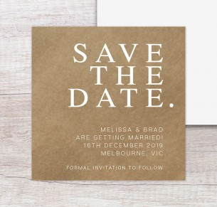 madrid save the date white ink on kraft