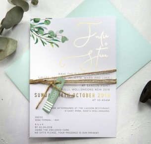 Gold foil eucalyptus fresh invitation