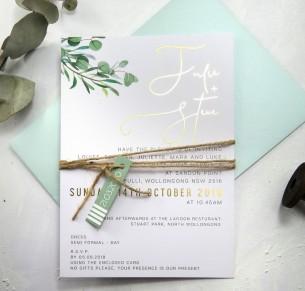 Gold foil eucalyptus fresh invitation