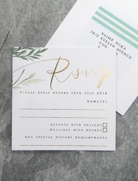 gold and rose gold foil! Rules of attraction rsvp card
