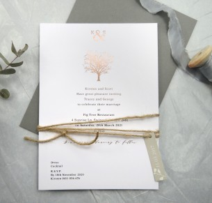 metallic rose gold foil jacaranda joy invitation