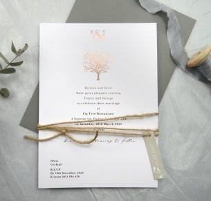 metallic rose gold foil jacaranda joy invitation