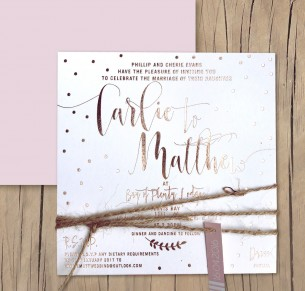 Dream dust rose gold foil invitation