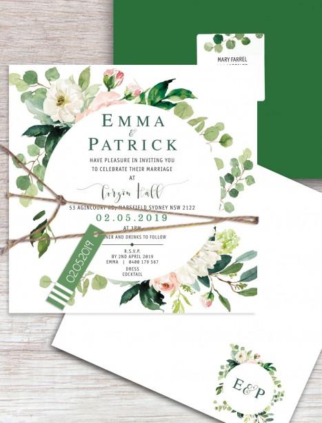 Wild flower flat card invitation