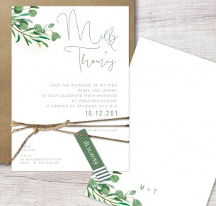 eucalypt fresh flat card wedding invitation