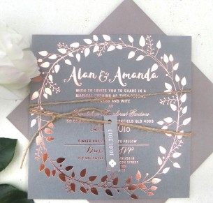 Foil on coloured cardl! Grecian garland invitation