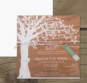 white ink on wood! under the oak invitation