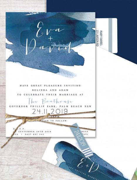 watercolour splash flat card invitation