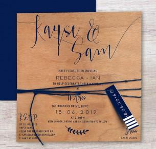printed on wood! Simply sublime invitation