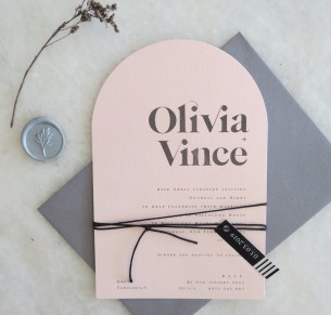 olivia blush arch invitation