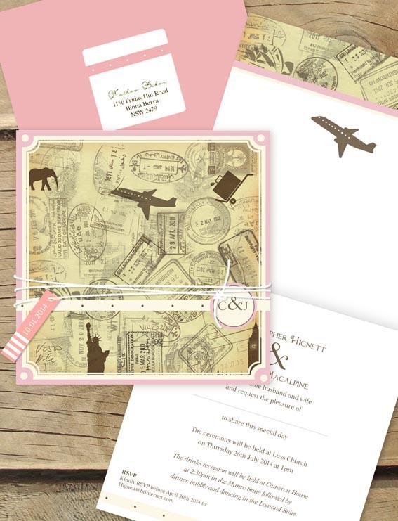 check out our new custom wedding invitation design we did for jamara and chriss upcoming nuptuails this lovely couple came to lilykiss wanting to explore - Travel Themed Wedding Invitations