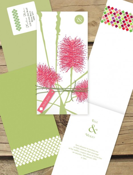 lemon bottlebrush invitation