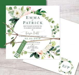 Wild flower flat card invitation