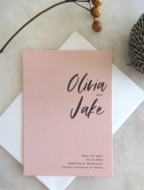 save the date! olivia in blush