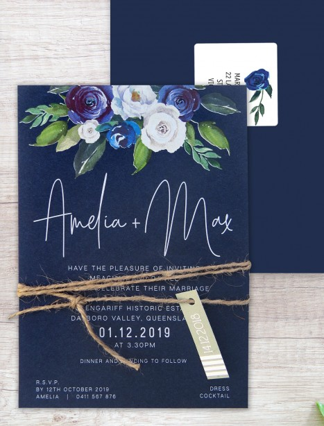 Forever white ink and colour invitation