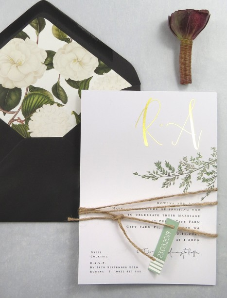 Metallic rose gold and gold foil grace in love invitation