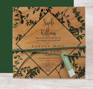 printed on wood! perennial invitation