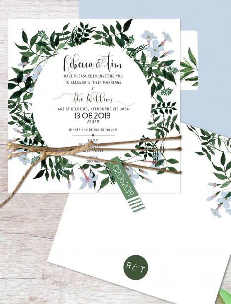 Rambling love flat card invitation