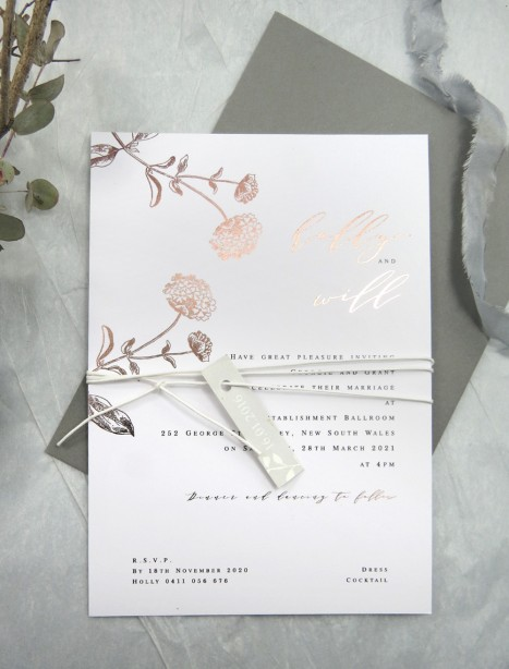 Rose Gold and gold foil! Darling buds of may invitation