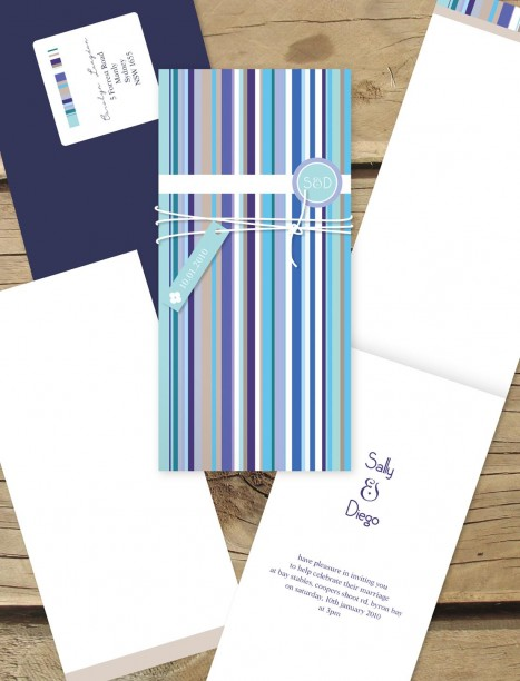 french stripe wedding invitation