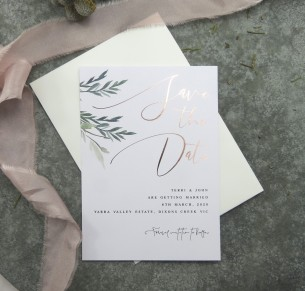 Save the date rose gold and gold metallic foil rules of attraction