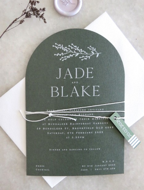 arch + white ink sage invitation