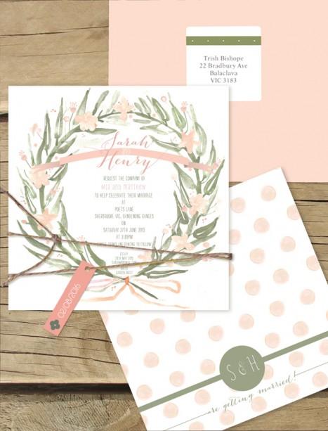 Watercolour wreath flat card invitation