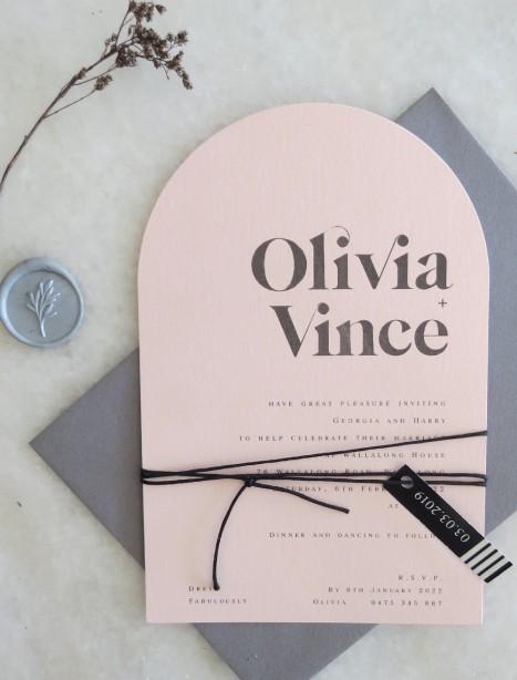 olivia blush arch invitation