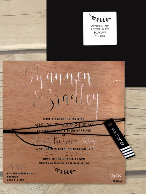 Rose gold foil on wood! simply sublime invitation