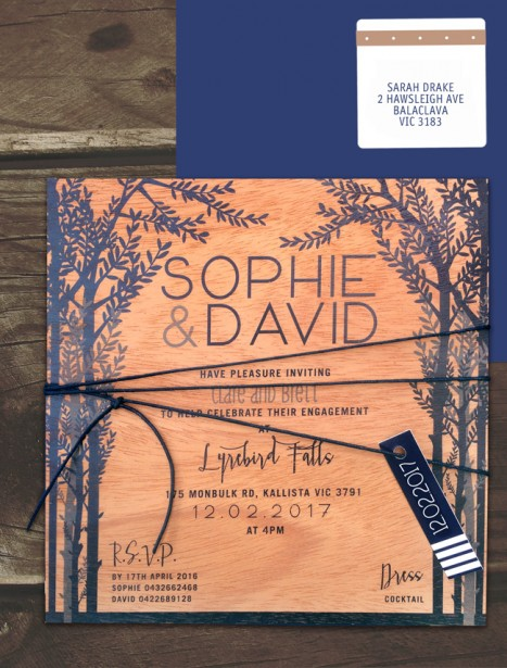 Printed on wood! woodland wonder invitation
