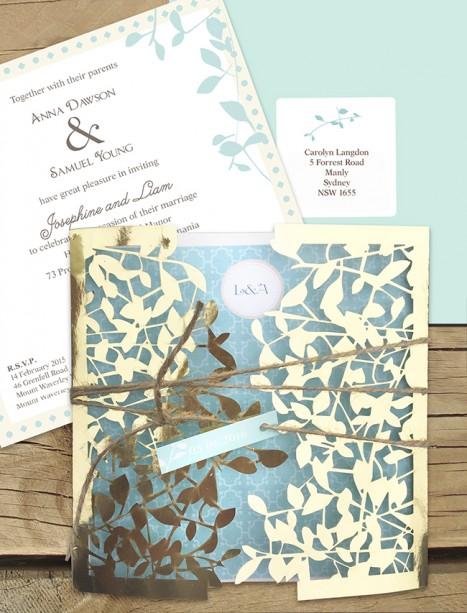 Gold metallic leafy affair laser cut invitation
