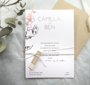 metallic rose gold and gold foil! blossoming invitation