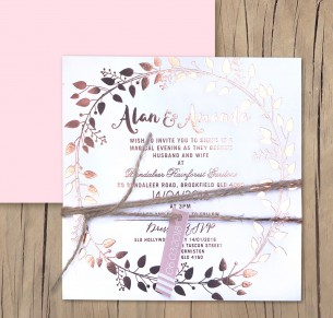 metallic Rose gold foil! Grecian garland invitation