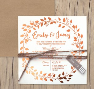 metallic copper foil! vineyard garland invitation