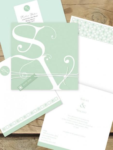 budding monogram wedding invitation